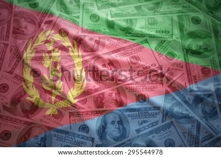 colorful waving eritrean flag on a american dollar money background - stock photo