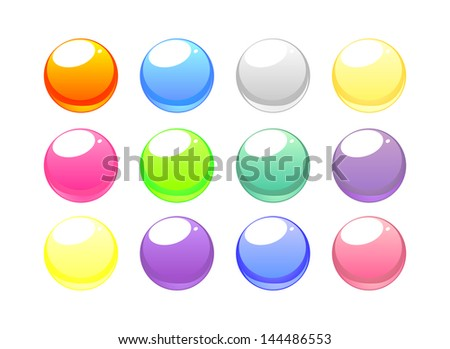 Colorful web button set. Grey, red, dark, blue, yellow, pink, emerald green and violet design elements isolated on white background.
