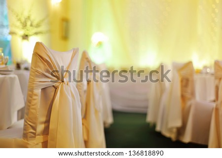 colorful wedding banquet in a restaurant - stock photo