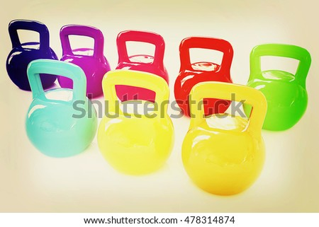 Colorful weights on a white background. 3D illustration. Vintage style.