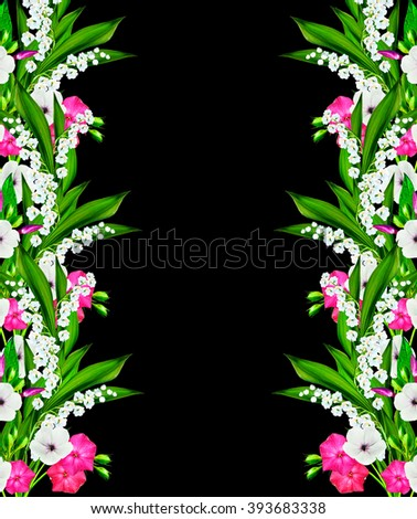 Colorful wild flowers isolated on black background - stock photo