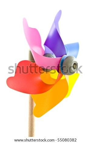 Colorful windmill toy isolated on a white background - stock photo