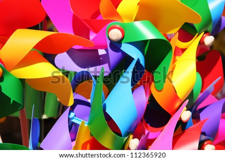colorful windmills. - stock photo