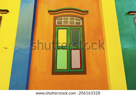 Colorful window and details on a colonial house in Little India, Singapore  - stock photo