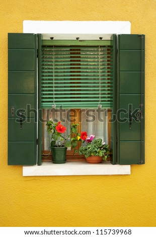 Colorful window of Burano island, Italy - stock photo