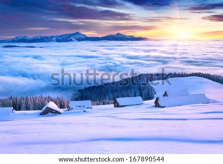 Colorful winter morning in the mountains - stock photo