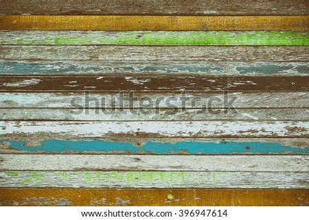 Colorful with old wood background and texture in retro color tone