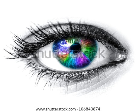 Colorful woman eye macro shot - stock photo