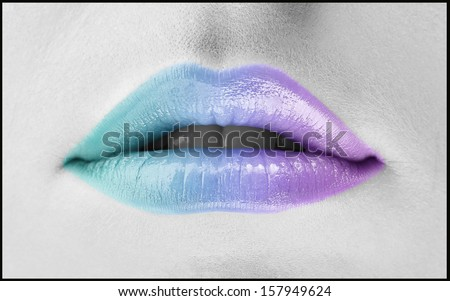 Colorful woman lips - stock photo