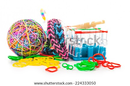 colorful wonder loom band rubber  isolated on white