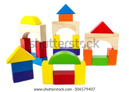 Colorful wood block toy on white background. Creativity toys.