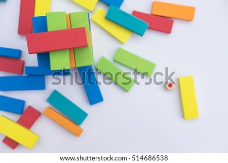Colorful wood blocks stack game with color dice