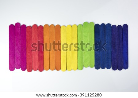 colorful wood ice-cream stick on white background