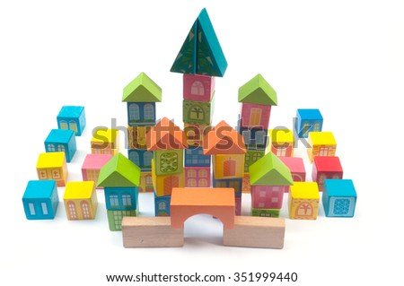 Colorful wooden block toy castle