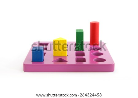 Colorful wooden blocks on wooden purple. - stock photo