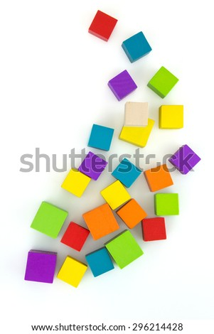 Colorful wooden blocks to put together a fantasy. - stock photo