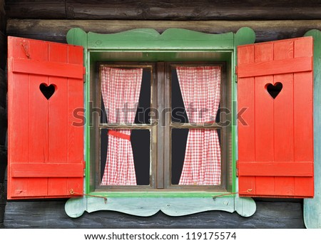 Colorful Wooden Chalet Window - stock photo