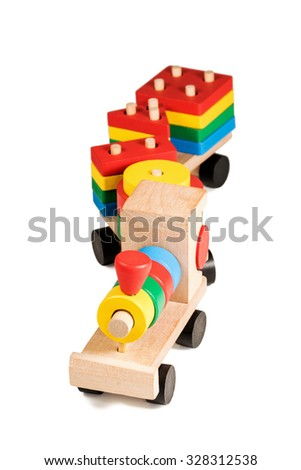 Colorful wooden children development train constructor isolated on white background - stock photo