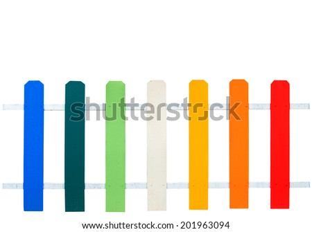 Colorful wooden fence isolated on white background - stock photo