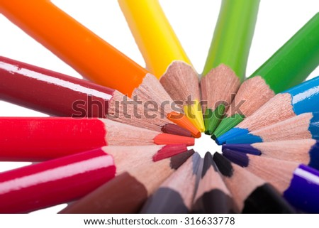Colorful wooden pencils isolated on white background