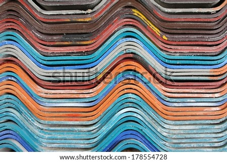 Colorful wooden tiles. - stock photo