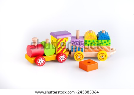 Colorful wooden toy train