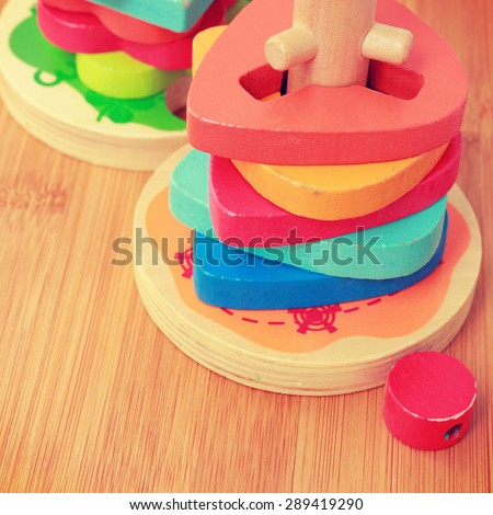 colorful wooden toys - instagram filter - stock photo