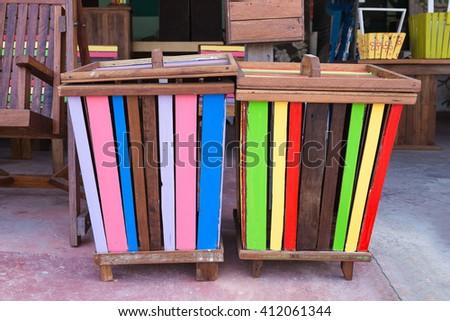 Colorful Wooden trash bin - stock photo