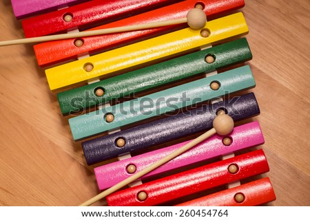 colorful wooden xylophone - stock photo
