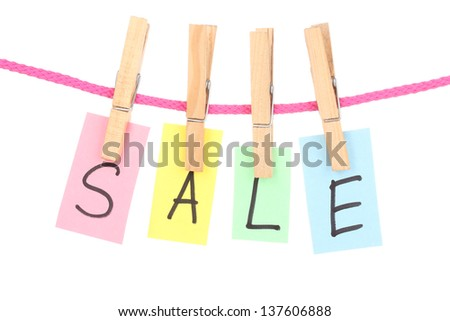 Colorful word hang on rope by wooden peg isolated on white - stock photo