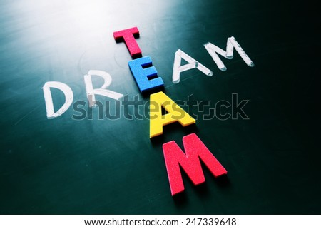Colorful word team and writing word dream crossing on blackboard