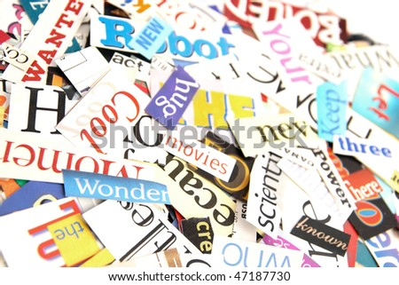 Colorful words cut out magazines form stock photo 47187730 colorful words cut out from magazines form an attractive background publicscrutiny Choice Image