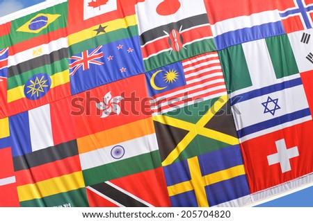 Colorful world flags collage suitable as background - stock photo