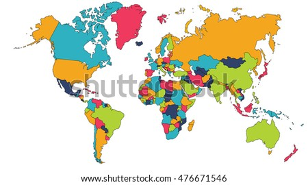 Colorful world map europe asia north stock illustration 476671546 colorful world map europe asia north america south america africa gumiabroncs Gallery