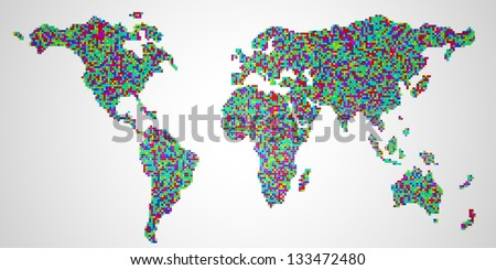 Colorful world map made of blocks. 3D render. Isolated on white.