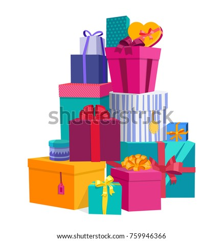 Colorful wrapped gift boxes beautiful present colorful wrapped gift boxes beautiful present box with overwhelming bow gift box icon negle Choice Image