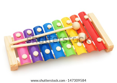 colorful xylophone on white with clipping path - stock photo