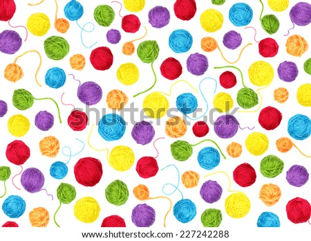 Colorful yarn balls as background isolated on white  - stock photo