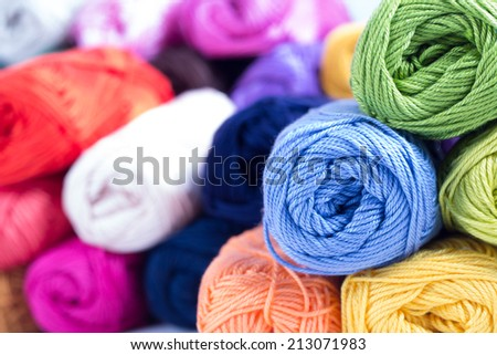 Colorful yarn close up