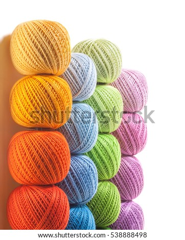 Colorful yarn on white