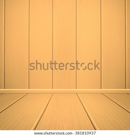Colorful yellow wood wall and room interior.