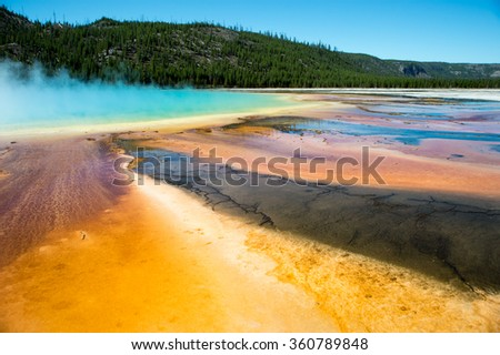 colorful yellowstone grand prismatic spring
