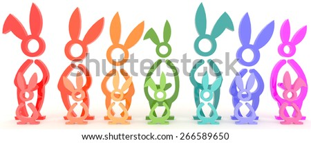 Colorful young and adult bunny Easter symbol in a row  in white background  - stock photo