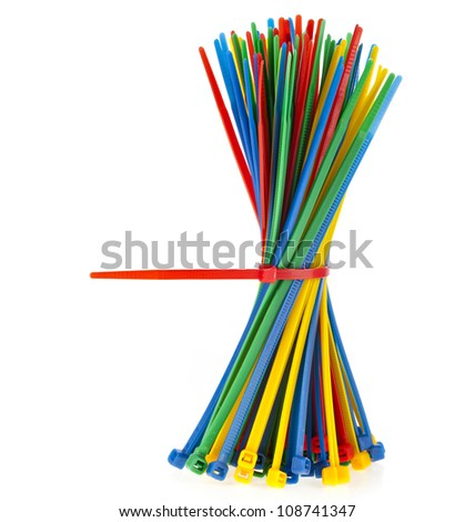 Colorful zip cable ties isolated against white background