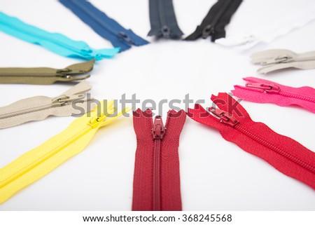 Colorful zipper close up - stock photo