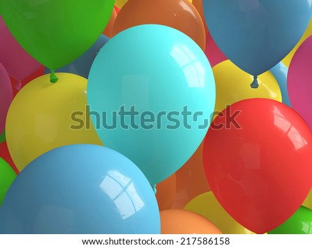 Colorfull balloons randomly distributed with bright lighting  - stock photo