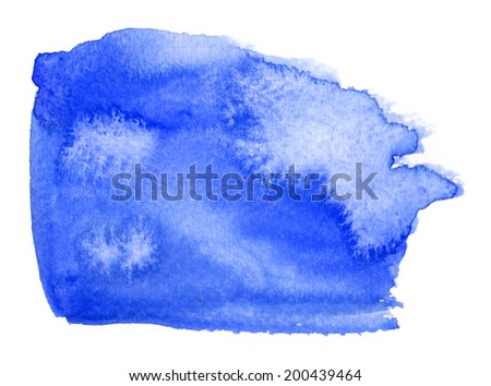 Colorfull blue watercolor spot with aquarelle color blotch - stock photo
