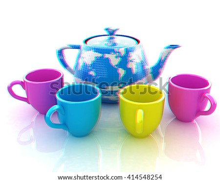 colorfull cups and teapot for earth. Globally. Drink for the entire planet.Concept of communication. 3D illustration. Anaglyph. View with red/cyan glasses to see in 3D. - stock photo