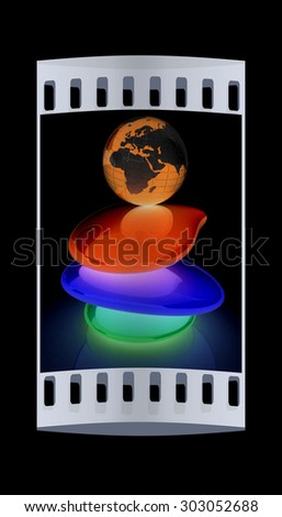 Colorfull earth on spa stones. 3d icon. The film strip - stock photo