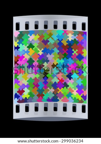Colorfull puzzle background. The film strip - stock photo